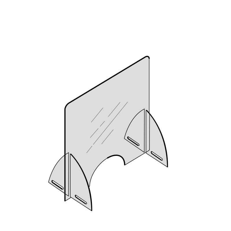 Divisorio in plexiglass autoportante